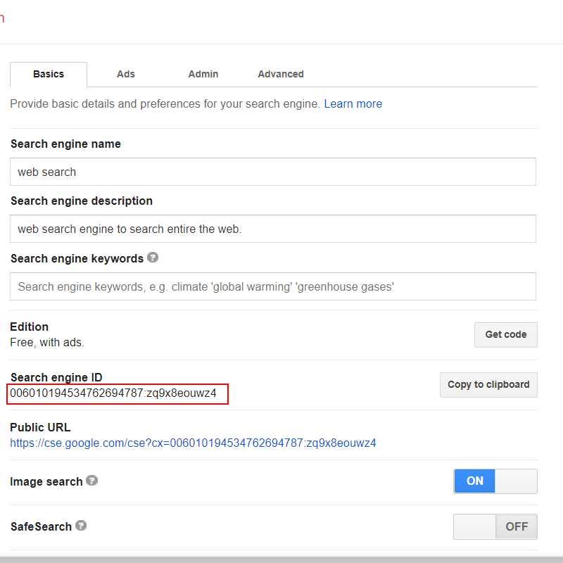 get azizi search engine CSE ID