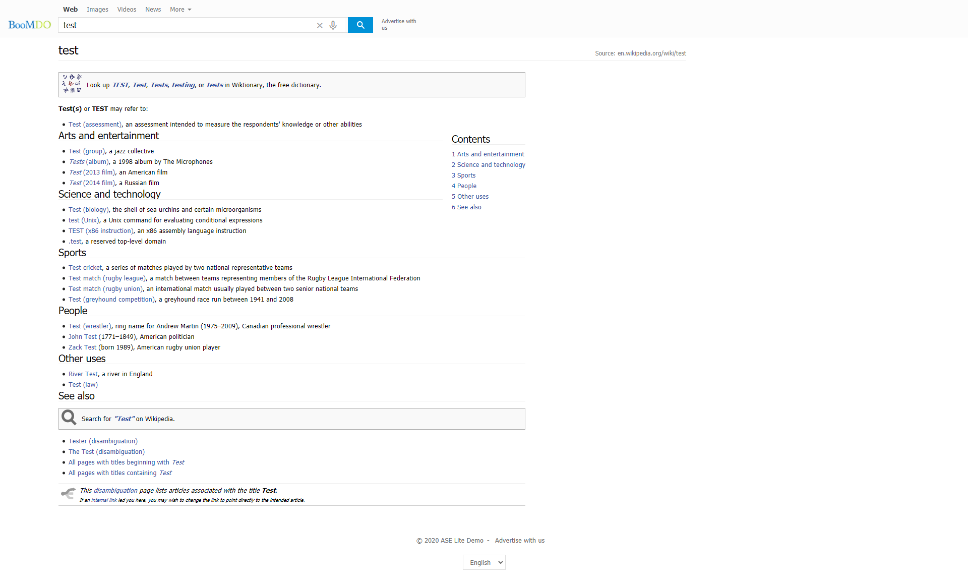 Wikipedia info & search engine